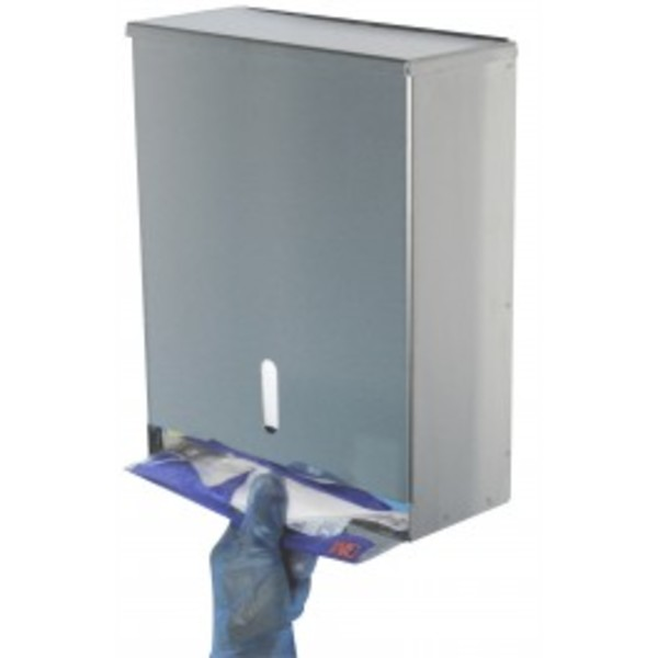 Stainless steel dispenser for disposable foldable respirators.